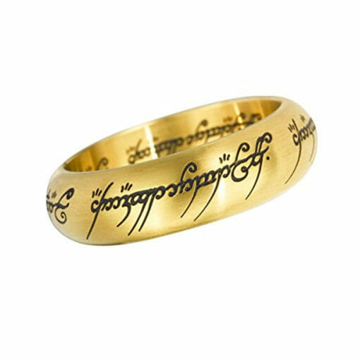 Anel Dourado com expositor Senhor dos Aneis Noble Collection 510x510 - Anel de Sauron Dourado Senhor dos Anéis com expositor Réplica Oficial