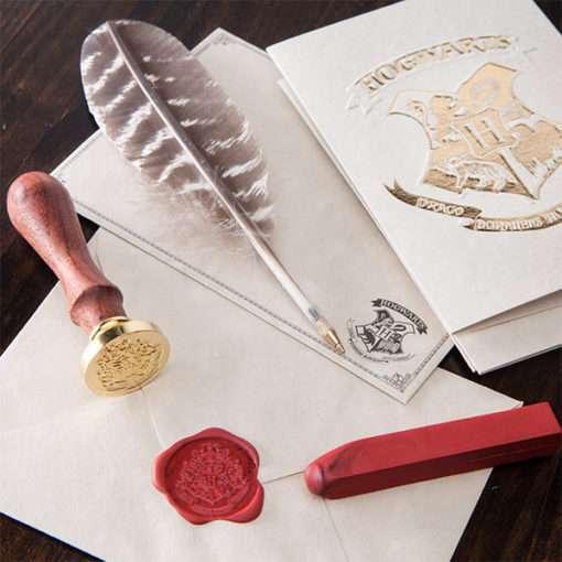 Kit Cartas Hogwarts com Caneta e Carimbo